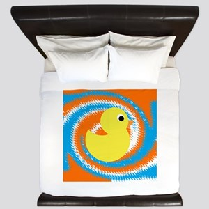 Rubber Duck Orange Blue King Duvet
