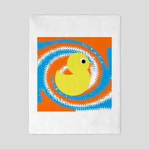 Rubber Duck Orange Blue Twin Duvet