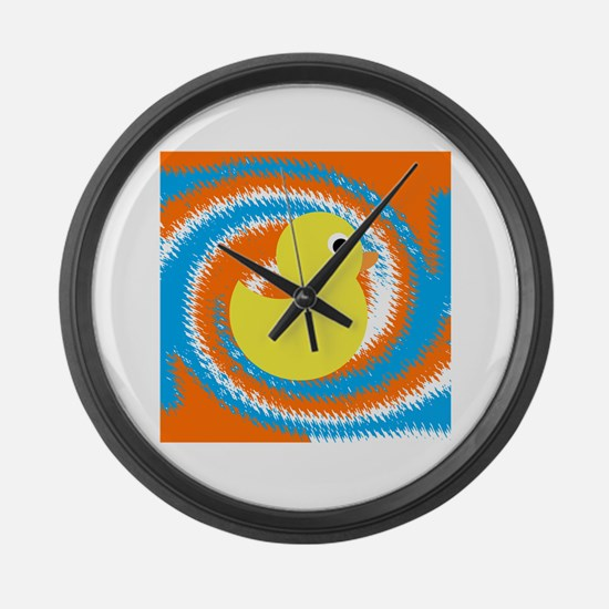 Rubber Duck Orange Blue Large Wall Clock