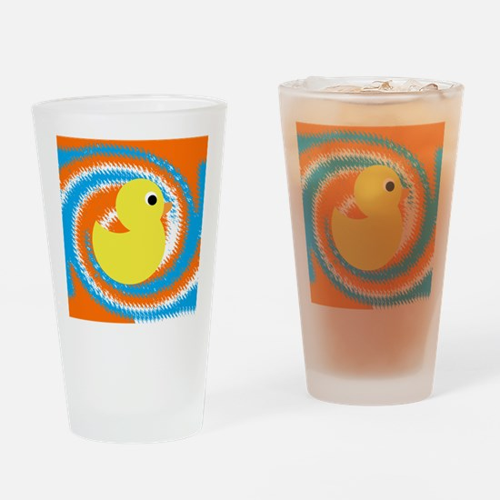 Rubber Duck Orange Blue Drinking Glass