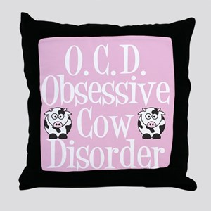 Pink Cow Throw Pillow