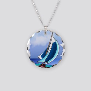 Sailing Away Necklace Circle Charm