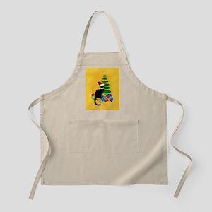 Christmas Le Chat Noir With Santa Hat Apron