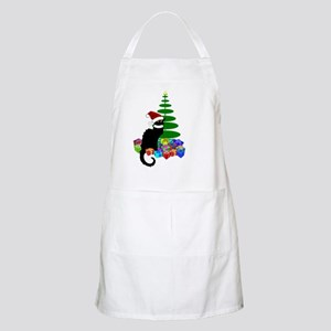 Christmas Le Chat Noir With Santa Hat Apron