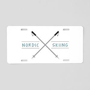 Nordic Skiing Aluminum License Plate