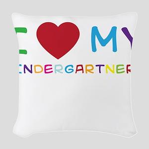 I love my kindergartners Woven Throw Pillow