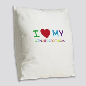 I love my kindergartners Burlap Throw Pillow