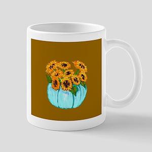 Sunflowers in Teal Pumpkin vase 2 Mugs