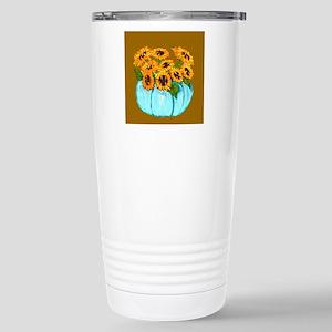 Sunflowers in Teal Pumpkin vase 1 Travel Mug