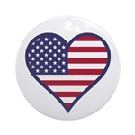 American Flag Heart Ornament (Round)