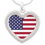 American Flag Heart Necklaces