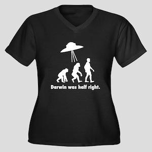 Darwin Was H Women's Plus Size V-Neck Dark T-Shirt