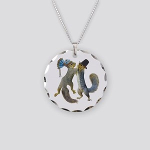 Dancing Squirrel Necklace Circle Charm