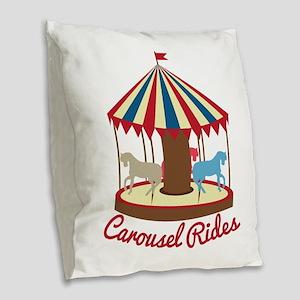 Carousel Rides Burlap Throw Pillow