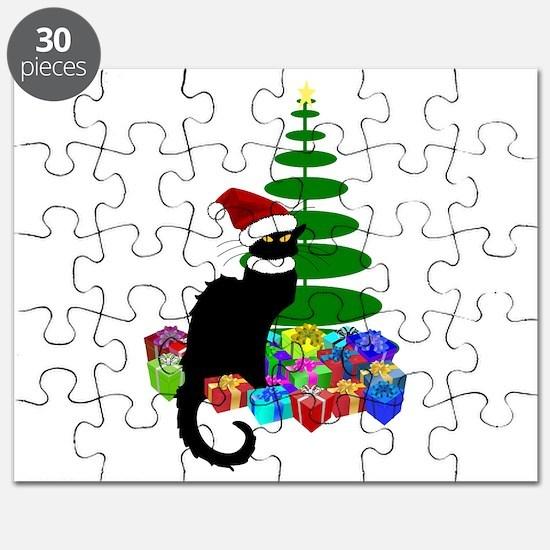 Christmas Le Chat Noir With Santa Hat Puzzle