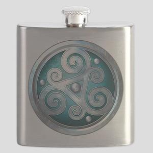 Celtic Double Triskelion - Teal Flask