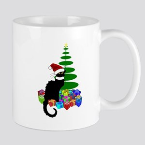 Christmas Le Chat Noir With Santa Hat Mugs