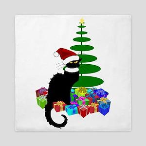 Christmas Le Chat Noir With Santa Hat Queen Duvet