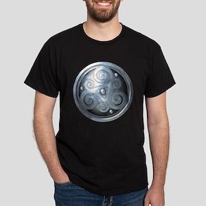 Celtic Double Triskelion - Silver Dark T-Shirt