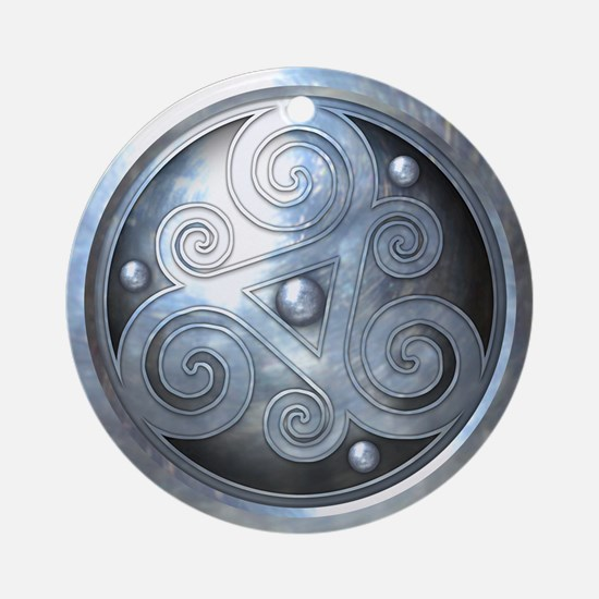 Celtic Double Triskelion - Silver Ornament (Round)