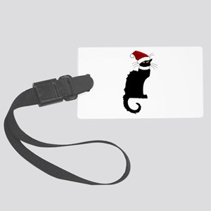 Christmas Le Chat Noir With Sant Large Luggage Tag