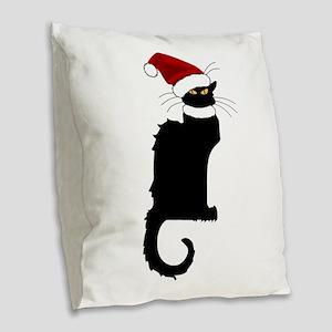 Christmas Le Chat Noir With Sa Burlap Throw Pillow