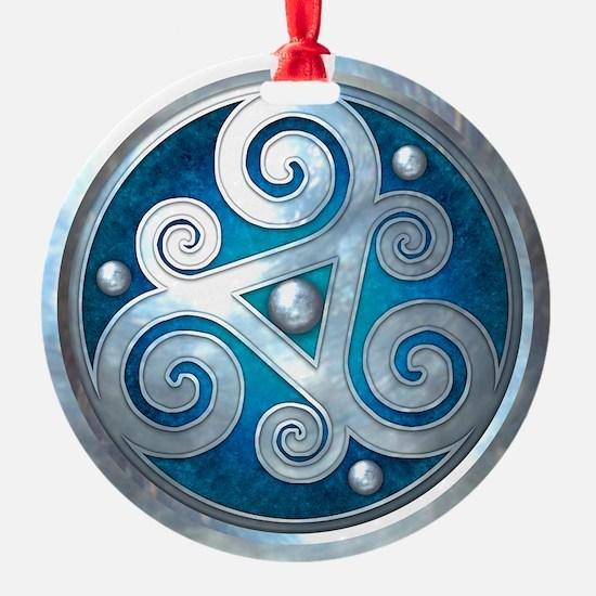 Celtic Double Triskelion - Blue Ornament