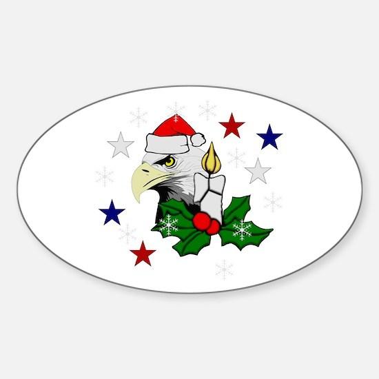 Christmas American Eagle Sticker (Oval)
