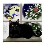 BLACK CAT SNOWMAN CHRISTMAS Tile Coaster