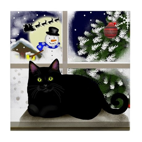 BLACK CAT SNOWMAN CHRISTMAS Tile Coaster