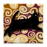 BLACK CAT ORIENTAL RUG Tile Coaster