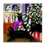 BLACK CAT CHRISTMAS Tile Coaster