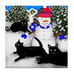 Black Cat Snowman Tile Coaster
