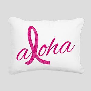 Pink Ribbon Hibiscus Alo Rectangular Canvas Pillow