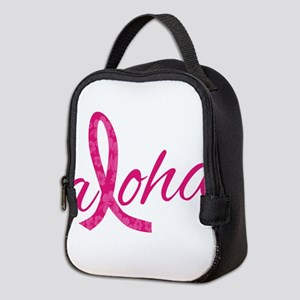 Pink Ribbon Hibiscus Aloha Neoprene Lunch Bag