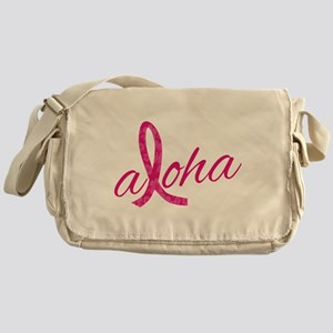 Pink Ribbon Hibiscus Aloha Messenger Bag