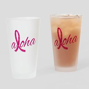 Pink Ribbon Hibiscus Aloha Drinking Glass