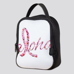 Pink Ribbon Plumeria Flowers Al Neoprene Lunch Bag