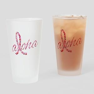 Pink Ribbon Plumeria Flowers Aloha Drinking Glass