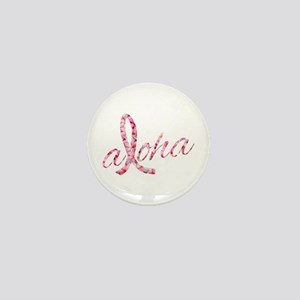 Pink Ribbon Plumeria Flowers Aloha Mini Button