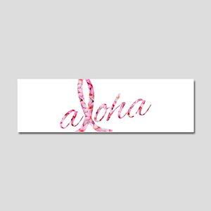 Pink Ribbon Plumeria Flowers Alo Car Magnet 10 x 3