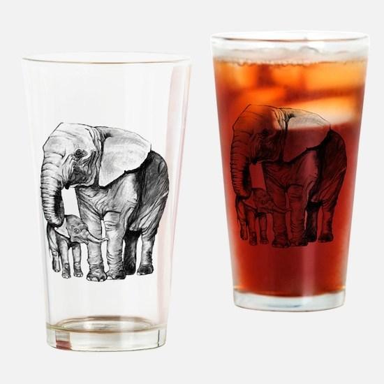 Drawn Elephant Drinking Glass
