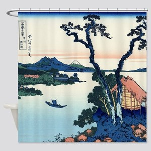 Lake Suwa by Hokusai Shower Curtain