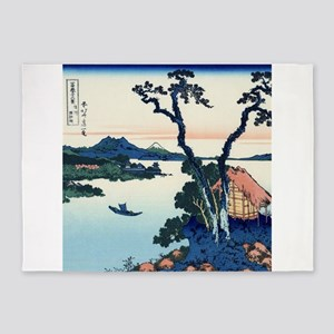 Lake Suwa by Hokusai 5'x7'Area Rug