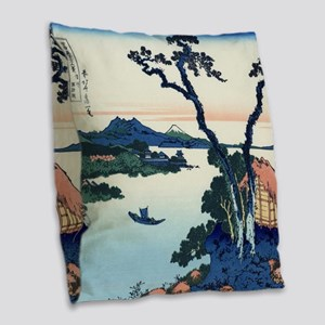 Lake Suwa by Hokusai Burlap Throw Pillow