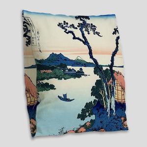 Lake Suwa by Hokusai Burlap Throw Pillow