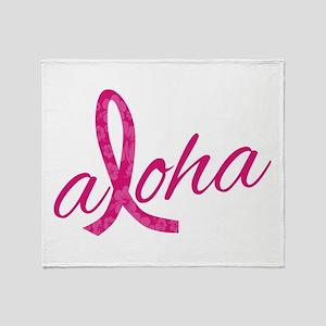 Pink Ribbon Hibiscus Aloha Throw Blanket