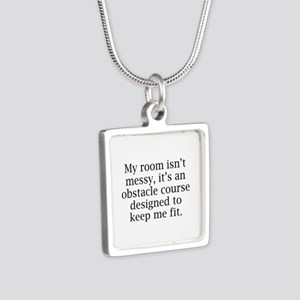 My Room Isn't Messy Silver Square Necklace