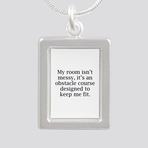 My Room Isn't Messy Silver Portrait Necklace