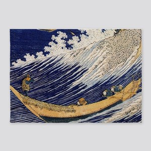 Hokusai Ocean Waves 5'x7'Area Rug